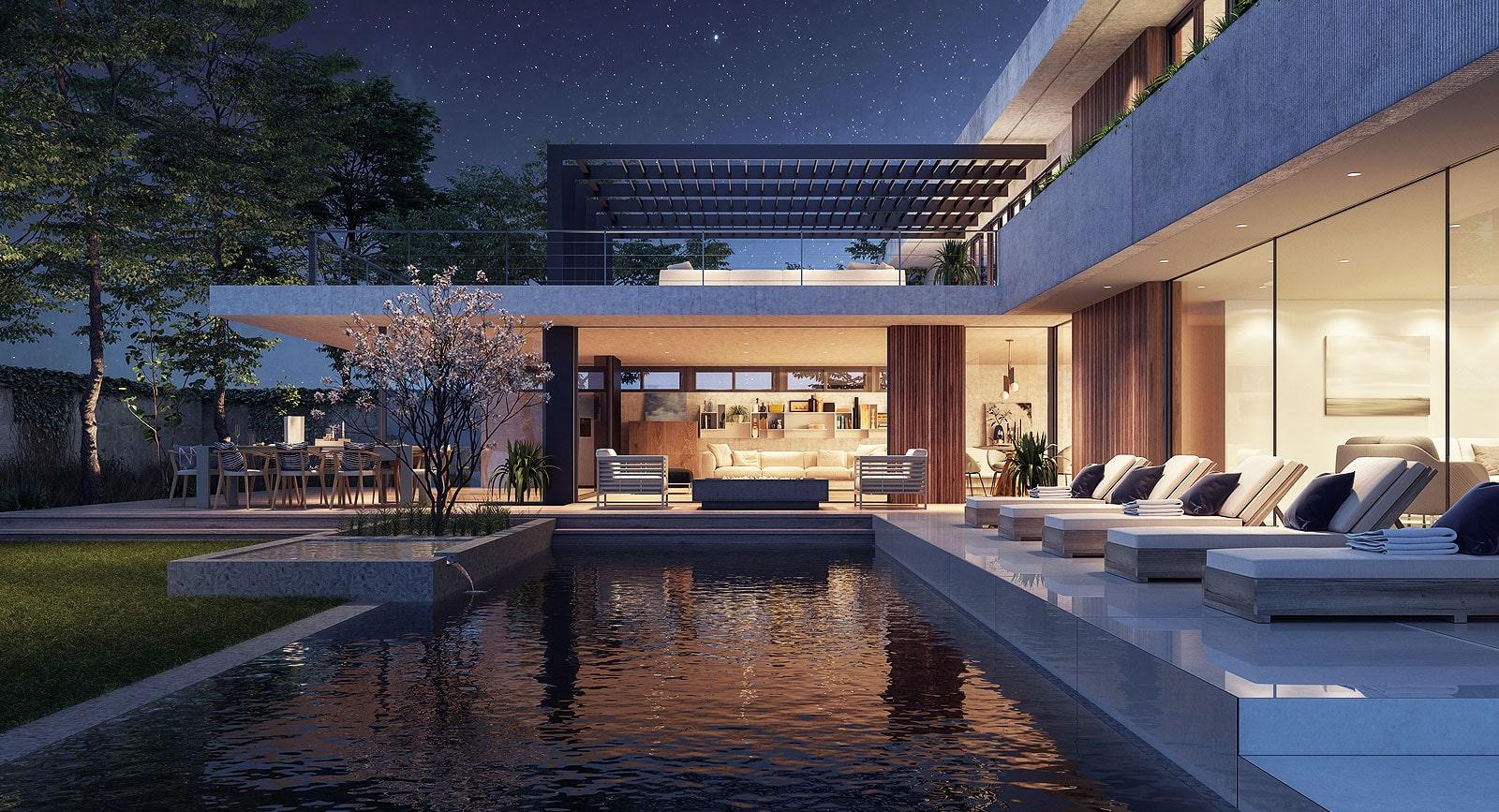 Luxury Swimming Pool during NIghttime